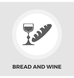 Bread and wine flat icon vector