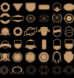 Set of labels and badges templates in gold style vector image