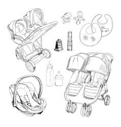 Hand drawn set for twins graphic sketch vector