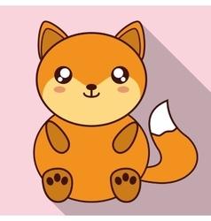 Kawaii fox icon cute animal graphic vector