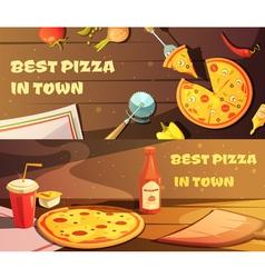Best pizza horizontal banners vector