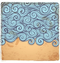 Blue vintage waves vector
