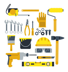 Building or repair tools work helmet hammer vector