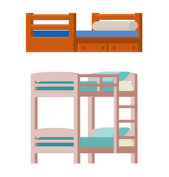 Bunk bed icon interior home rest collection vector