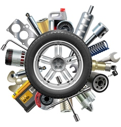 Car Spares Concept with Wheel vector image