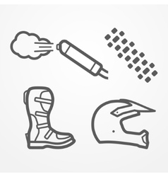 Cross motorcycle icons vector