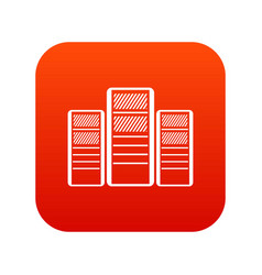 database servers icon digital red vector image vector image