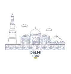 delhi city skyline vector image vector image