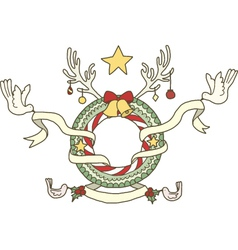 Fantasy Christmas Wreath vector image