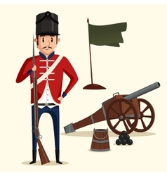 French army soldier with musket near cannon vector
