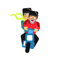 Grandparents driving on motorbike isolated on vector