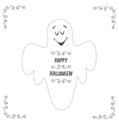Halloween ghost poster design Postcard with hand vector image vector image