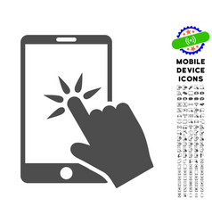 hand click smartphone icon with set vector image