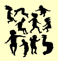 happy playing and sport training silhouette vector image vector image