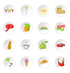 Italy icons set cartoon style vector image vector image
