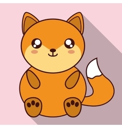 Kawaii fox icon cute animal graphic vector