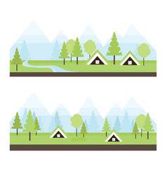 Landscape with icelandic turf houses vector