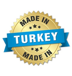 made in Turkey gold badge with blue ribbon vector image