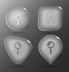 Magnifying glass glass buttons vector