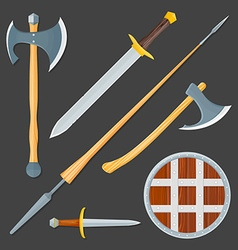 medieval cold weapon set vector image