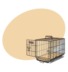 metal wire cage crate for pet cat dog vector image vector image
