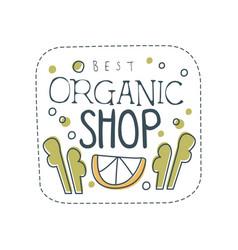 organic shop logo template design label for vector image vector image