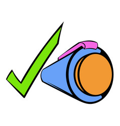 Pen and green checkmark icon cartoon vector