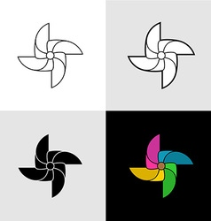 Pinwheel silhouette logo Set of flat color vector image