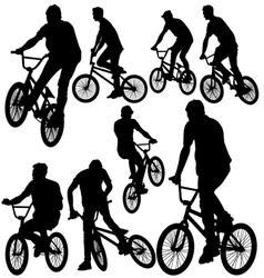 ride bike silhouette vector image