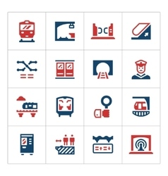Set color icons of subway vector