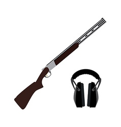 Skeet rifle and headphones for shooting vector
