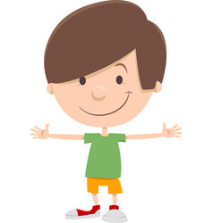 Smiling kid boy cartoon character vector