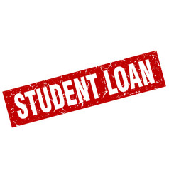 Square grunge red student loan stamp vector