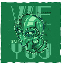 ufo t-shirt label design vector image vector image
