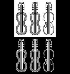 Violin black and white stroke vector