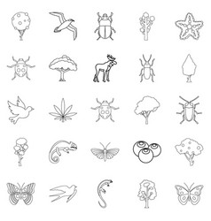 Woody icons set outline style vector