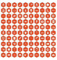 100 development icons hexagon orange vector