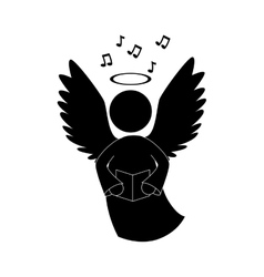 Angel singing musical instrument icon vector