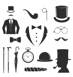 Gent icons set vector