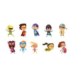 Kids Supeheroes Retro Set vector image