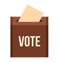 Brown ballot box for collecting votes icon vector