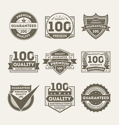 Premium quality guaranteed label set vector