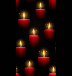 Seamless dark texture with burning red candles vector