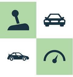 Car icons set collection of stick chronometer vector
