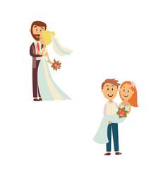 newlywed couple set isolated vector image