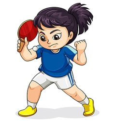 A female asian playing tabletennis vector