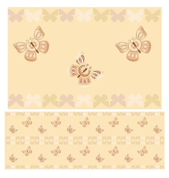 Beige butterflies seamless pattern vector