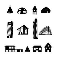 Set of different buildings vector