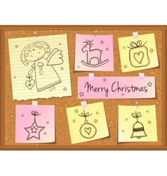 Christmas doodles with angel vector image