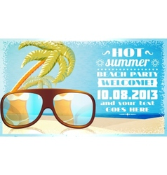 Summer beach party invitation glasses on the sand vector